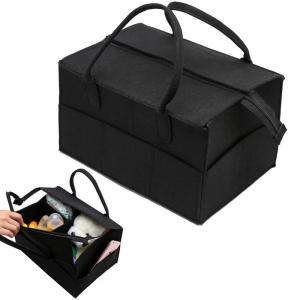China Zip Top Baby Diaper Caddy , Black / Grey Felt Diaper Caddy Gift Basket on sale