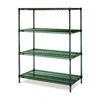 "18""D Green Epoxy Commercial Wire Shelving Rack For High Moisture Wet Environment Manufactures"