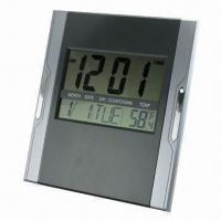 Digital LCD Wall Clock, Made of ABS, Available in Silver and Black Manufactures