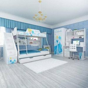 E0 Grade Kids' Bunk Bed Furniture, Children Furniture, Home Product, Desk, Chair, Disney, Princess