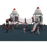 Colorful Kids Climbing Net With Stainless Steel Tunnel Slide And LLDPE Roof Manufactures