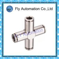 Four Way Nickel-Plated Copper Push  - In Pneumatic Brass Tube Fittings PZA Series Manufactures