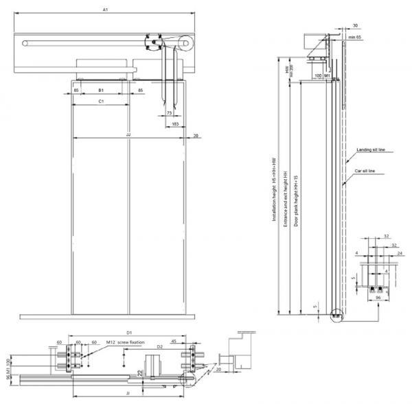 Elevator Door Mechanism Two Panel Side