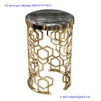 modern designed metal corner table  stainless steel laser cutting base side table Manufactures