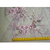 Embroidered 55 Inch Peach Color 3D Floral Rose Lace Fabric With Beads And Sequins Manufactures