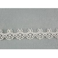 Cute Floral Embroidered Lace Trim Soft Ivory Bridal Lace Border For Art Decoration Manufactures