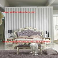 Flowers Headboard Wooden Bed in Neoclassical fabric design for luxury multiple star B& B Room Furniture Manufactures