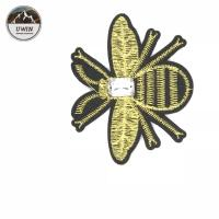 Ironed Small Size Bee Embroidered Patch , Sewn Embroidered Patches For Clothes