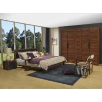 2016 New Nordic Design Cow leather Headboard bed in Walnut wood Furniture and MDF panel Wardrobe in Wall cabinet Manufactures