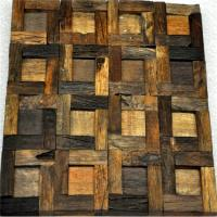 Handmade Reclaimed Wood Wall Panels Natural Pattern For Coffee Shop / Bar Manufactures