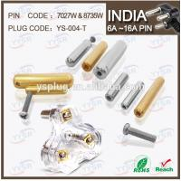 China 7027W & 8734 10/16amp soldering type India plug schuko pin (7.06/8.7mm brass switches) on sale