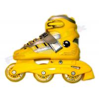 Yellow Kids Adjustable Inline Skating Shoes / Outdoor Roller Skates With Aluminum Chassis Manufactures