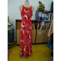 Quality Beautiful Womens Summer Maxi Dresses Single Jersey Maxi Dress Coral Abstract Printing for sale