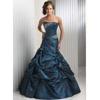 China Dark Green Long Evening Party Dresses , Sleeveless Beaded Prom Gown on sale