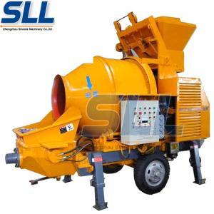 Mobile Potable Concrete Mixer Machine Two Feeding Modes Driven By Diesel Engine