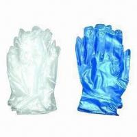 Disposable Vinyl Safety/Working Gloves, Powder-free or Powered Inner, Comes in White/Blue, CE Mark Manufactures