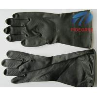 Long Black Latex Industrial Gloves Water-Proof With Flocklined Type Manufactures