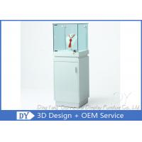 Shinning White Custom Glass Display Cases With Lighting 450 X 450 X 1250MM Manufactures