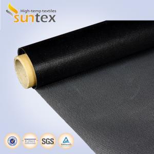 China Heat Retardant Black Fire Retardant Fabric Glassfiber Coated / Ptfe Fiberglass Cloth on sale