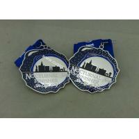 Customized Silver Hard Enamel Medal With Zinc Alloy , Die Struck Medal For Running Sport Manufactures