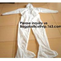 China Light Duty Disposable Protective Coveralls Suit Attached Non-Woven Fabric Hood Elastic Wrist Ankles and Waist Serged Sea on sale