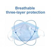 Blue  Disposable 3 Ply Face Mask , Disposable Mouth Mask Good Breathability Manufactures