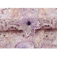 Quality Wedding Beige Purple Pink Colorful Mesh Lace Fabric Ostrich Feather Sequin 3d for sale