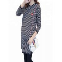 Striped Pattern Maternity Knit Sweater Loose Fit Type Polyester / Cotton Material Manufactures