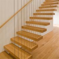 Modern interior stairs designs indoor wooden wire staircase railing steel beam stairs Manufactures