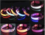 Orange LED Flash Safty Nylon Dog Collar For large dog Manufactures