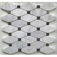White And Grey Slate Stone Mosaic Tile Diamond Carrera Venato Marble Black Dots Polished Manufactures