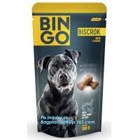 Stand Up Dog Food Feed Packaging Bag With Tear Off Slider Seal, Top Slider Ziplock Plastic Dog Treats Plastic Packaging Manufactures