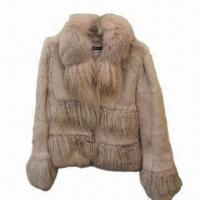 China Women's Rex Rabbit Fur Coat with Fur Collar, Fashionable Design on sale