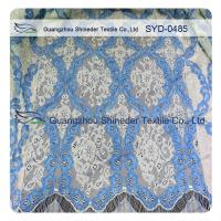 Women Dress Corded Lace Fabric , Double Tone Nylon Cotton Lace Fabric Scalloped Manufactures