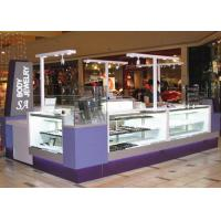 Easy Install Jewelry Showcase Kiosk Attractive Purple Color Coating Wooden Material Manufactures