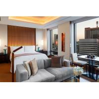 Australia luxury hotel interior design of furniture supplier from China by teak wood bed with upholstered pad and sofa Manufactures