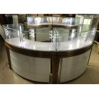 High End Stainless Steel Gold Jewellery Showroom Display With Led Light Manufactures