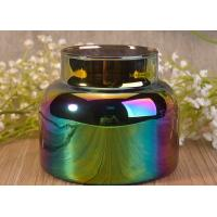 Hotsale costomized polished sprayed rainbow color glass candle jars