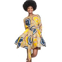 Women Full  Lace-Up African Print Skirts , 100% Pure Cotton Dress Wax Printing Manufactures