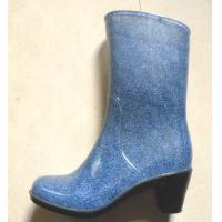 China Lady blue high heel rain boots,lady blue gumboots,lady wellingtons on sale