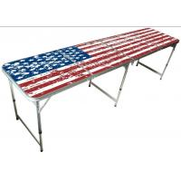 China 8FT Aluminum Folding Beer Pong Tables, 8ft*2ft, 240*60*70cm, MDF and aluminum material, custom logo and design available on sale