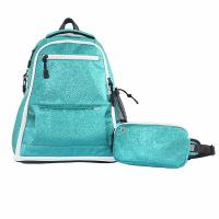 New Style Green Color Fashion Sports Backpack Glitter Sparkle Material Manufactures