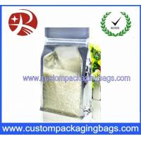 China Aluminium Foiled Plastic Food Packaging Bags Zipper Top Rice Side Gussest on sale