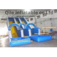 Quality double wave slide inflatable wet & dry slide with pool,pool can removed ,double for sale