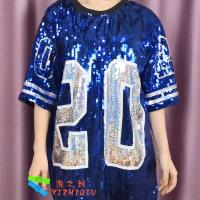 Buy cheap Blue Sequin Tee Shirt Dress Sorority Stage Performance Clothing Number 20 from wholesalers