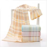 Velour Cotton Bath Towels / Spa Striped Beach Towels High Water - Absorbing