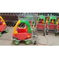 Grocery Plastic Shopping Trolley , Steel Wire Kiddie Trolley Cart With 4 Elevator Wheels Manufactures