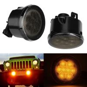Firebug Amber LED Turn Signal Light Smoke Lens Front Grill for Jeep Wrangler JK Manufactures
