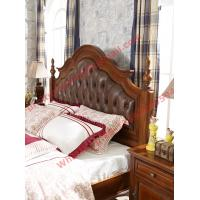 Leather Upholstery Headboard with Wooden Carving Frame in Bedroom Furniture sets Manufactures