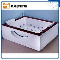 Indoor Double Whirlpool Tub With Oak Edge Cover , Seamless Air Bubble Bathtub Manufactures